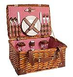 Cestino da picnic Completo di porcellane in porcellana 2 persone Cestino di vimini Cestino da picnic in vimini Cestino da picnic in vimini di legno (LYP15022, rosso)