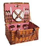 eGenuss Picknick Korb Komplett Porzellan Geschirr 2 Personen Weidenkorb Picknickkorb Weidenholz Weidenpicknickkorb (LYP15022, Rot)