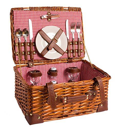 Picknick Korb komplett Porzellan Geschirr 2 Personen Weidenkorb Picknickkorb Weidenholz Weidenpicknickkorb (LYP15022, Rot)