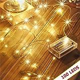 Led guirlandes de lumières 100 leds fées décoratives à piles, lumière de fil de cuivre pour chambre à coucher, mariage (33ft / 10m blanc chaud)