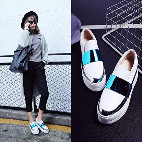 Femmes Fait Mokassin plateforme Slipper Espadrilles Chaussures Blanc