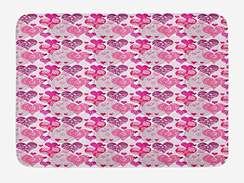 OQUYCZ Hearts Bath Mat, Valentines Day Inspired Ornamental Symbols of Love Pattern in Pink Tones, Plush Bathroom Decor Mat with Non Slip Backing, 23.6 W X 15.7 W Inches, Hot Pink Purple Pink