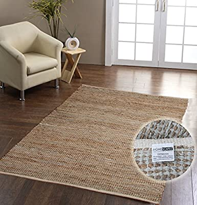 Homescapes Madras Leather Hemp Rug - Natural Beige Grey - 3 x 5 ft - cheap UK light shop.