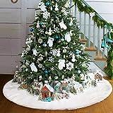 Royaliya Baumdecke Weihnachtsbaum Rock Christbaumdecke Rund Weiß Weihnachtsbaumdecke Christbaumständer Teppich Decke Weihnachtsbaum Deko (122CM)