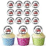 Vorgeschnittener Personalisierter VW Bus - Essbare Cupcake Topper / Kuchendekorationen (24 Stück)