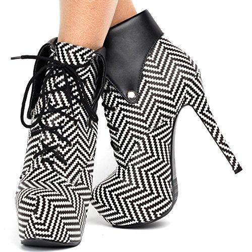 Histoire de montrer noir Fold géométrique sur Lace Up Stiletto cheville gothique Bootie, LF80832 noir blanc Herringbone