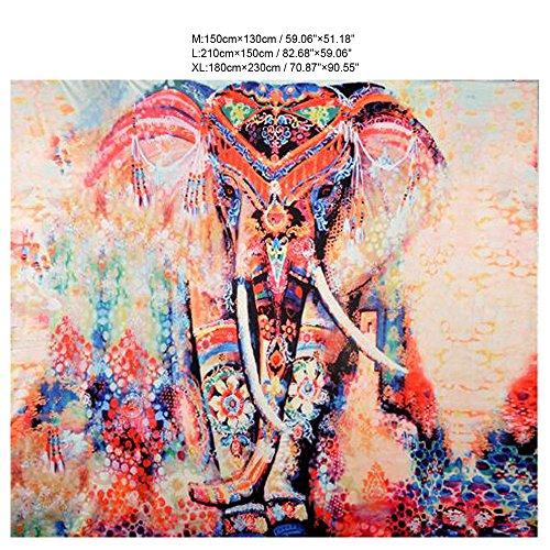 wocharm Bohemian Indian Elephant Totem zum Aufhängen Wand Deko Hänger Teppich Decke Decke Tuch Hintergrund Tuch Strand Yoga, Oranger Elefant, L 210cm X 150cm