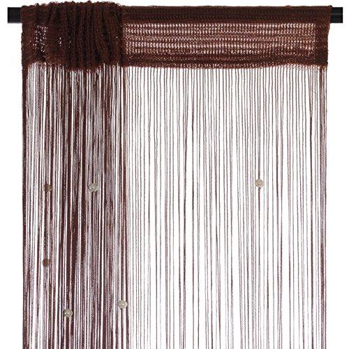 Smartfox Fadenvorhang 100 x 250 cm in Braun mit Perlen Fadengardine Fadenstore Vorhang Schal Faden