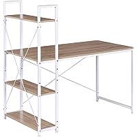WOLTU TSB01whe Table de Bureau avec étagère de Rangement Bureau d'ordinateur Stable et Robuste env. 120x64x120 cm,Blanc…