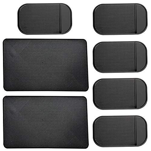 CKANDAY 7er Pack Auto Armaturenbrett Anti-Rutsch-Matte, 2 Größen Hitzebeständige, klebrige, rutschfeste, wellenförmige Gel-Latex-Armaturenbrett-Auflage für Handy-Sonnenbrillen-Schlüsselmünzen, schwarz