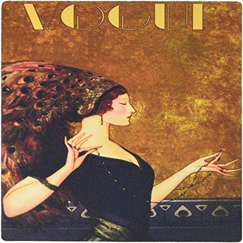 3drose LLC 20,3x 20,3x 0,6cm Maus Pad, Bild von Art Deco Pfau Haar Lady on Vogue (MP _ 163681_ 1) (En Vogue-haar-zubehör)