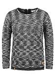 BlendShe Zoe Damen Winter Strickpullover Troyer Grobstrick Pullover mit Rundhalsausschnitt, Größe:L, Farbe:Black (20100)