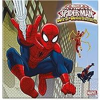 Procos 85154–Servilletas papel ULTIMATE Spider Man Web Warriors, 33x 33cm, 2capas, 20unidades, rojo/azul/azul