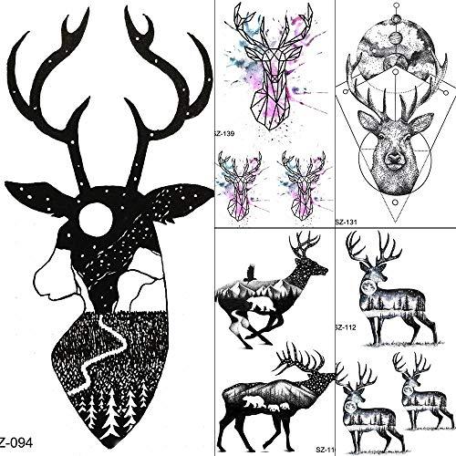 Temporäre Tattoos Aufkleber Tattoos Temporary Women Schwarz Moon Deer Körper Arm Art Kaufen Sie Tattoo Fake Aufkleber Men Moon Elk Horn Moose Tattoos -