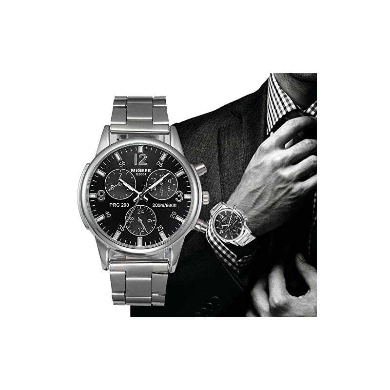 Men's Watch, Toamen Fashion Man Crystal Stainless Steel Analog Quartz Wrist Watch