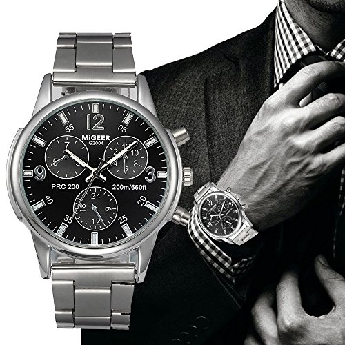 - 61FrxvY1FoL - Men's Watch, Toamen Fashion Man Crystal Stainless Steel Analog Quartz Wrist Watch