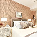 #8: Rrimin New PE Foam Wall Stickers 3D Wallpaper DIY Wall Decor Stickers 60*60 cm (Apricot)