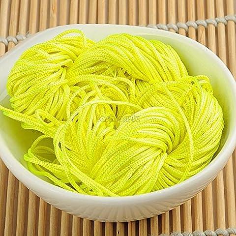 Nueva 1mm Macrame amarillo cola de rata china Knotting Nylon rebordear hilo cuerda de la joyería EQB174