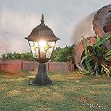 Edle Sockelleuchte Weglampe Salzburg in antik rustikal mit Glas im Tiffany Stil E27 230V Wegleuchte Pfeilerleuchte Pfeilerlampe Garten Hof Außen Außenleuchte Lampen