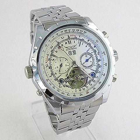 Tramutante lunetta quadrante scheletrato in acciaio auto-vento fino orologio meccanico automatico , white