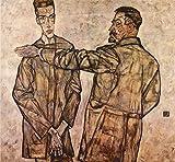 Das Museum Outlet–Double Portrait Of Heinrich Bensch und seinem Sohn Otto by Schiele–Leinwand (61x 45,7c