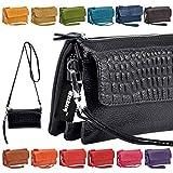 Wocharm Women Soft Leather Smartphone Wristlet Cross body Wallet Clutch With Credit Card Slots Shoulder Strap Wrist Strap Cash Pocket Black Red Brown Orange Handbag