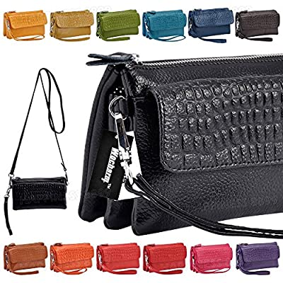 Wocharm Women Soft Leather Smartphone Wristlet Cross body Wallet Clutch With Credit Card Slots Shoulder Strap Wrist Strap Cash Pocket Black Red Brown Orange Handbag