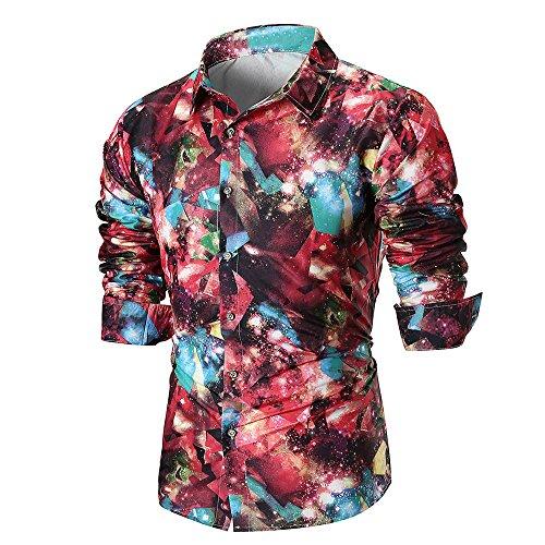 DNOQN Oversize Shirt Herren Longsleeve Langarm Hemden Sommer Lässige Slim Langarm Bedrucktes Hemd Top Persönlichkeit Bluse rot M