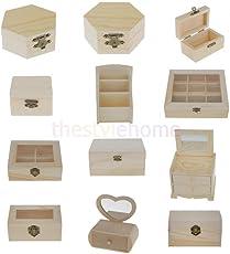 ELECTROPRIME Natural Unpainted Plain Wooden Jewellery Storage Box Case Wood DIY Craft