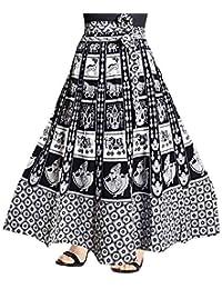 Rangun Women's Cotton Printed Wrap Around Skirt (White, Free Size)