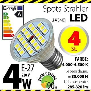 4-er Pack ALMIPEX E27 LED Lampe 4W (320lm - 4500 K - Weiß - 24 x 5050 SMD LED - 120º Abstrahlwinkel - E27 Sockel - 230V AC - 4 Watt - Ø 50×54 mm)
