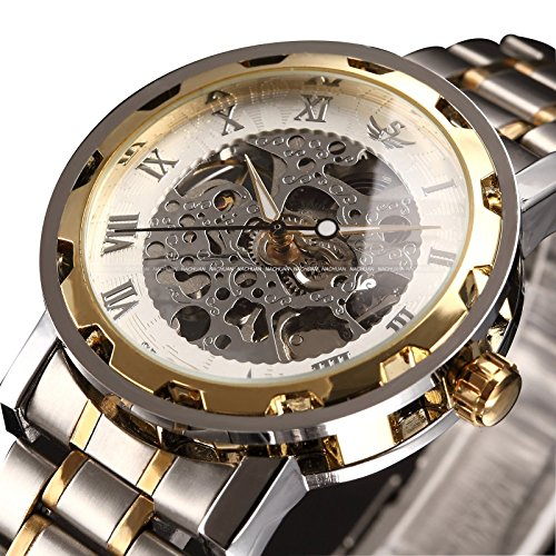 ALPS marken herren klassische skeleton mechanische analog edelstahl uhr vergoldet armbanduhr