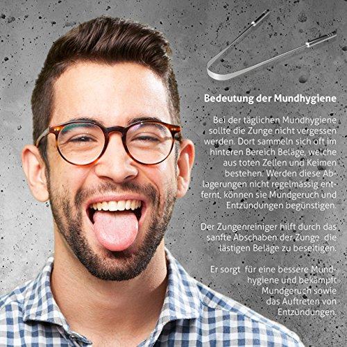 Zungenreiniger Zungenschaber ausreinemEdelstahlzum Mundgeruch bekämpfen von YOGAMEDIC – Zungenreinigung – Frischer Atem – Zungenbürste – Ayurveda - 4
