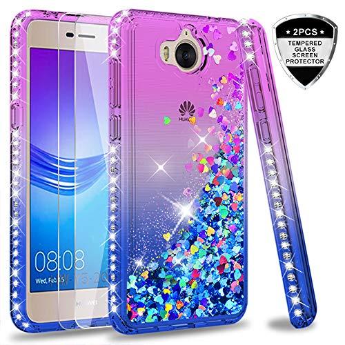 LeYi Hülle Huawei Y6 2017/Y5 2017/Y5 II 2017/Y5 Pro Glitzer Handyhülle mit Panzerglas Schutzfolie(2 Stück),Cover Diamond Bumper Schutzhülle für Case Huawei Y6 2017 Handy Hüllen ZX Gradient Purple Blue