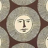 Alexander Henry Dunkelbrauner Stoff mit Sonnen.