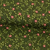 Stoffe Werning Baumwollstoff Blumenranken tannengrün