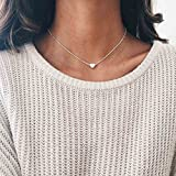 Simsly Simple Pendant Necklace Chain with Heart Shaped Accessories Jewelry for Women and Girls (Gold)