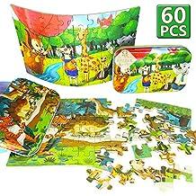 Puzles educativos de 60 piezas de madera, de dinosaurios y animales del bosque, para el aprendizaje y desarrollo temprano de niños en edad preescolar, regalo de cumpleaños, para edades 3, 4, 5