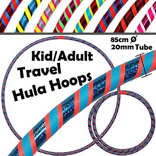 Pro KIDS HULA HOOP (85cm) Reifen für Kleine Erwachsene und Kinder (3-Farbig Ultra-Grip/Glitter Deco) Faltbarer TRAVEL Hula Hoop ideal für Hoop Dance, Fitness Training, Zirkus, Festivals, Aerobic & FUN! - - Hula-hoop Glitter