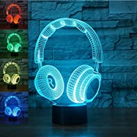 3D Los auriculares Headset Headphone lámpara luz nocturna óptico Illusions 7 Cambio de color acrílico Tocar