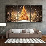 Shining Home 3 Stück Canvas Prints Weihnachtsbaum im Schnee Christmas Series LED blinkende optische Faser Print LED Wall Art LED Dekorationen, 40*60*3