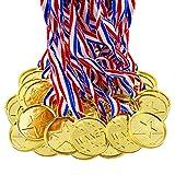 BJ-SHOP Medallas Niños,Medallas Deportivas Premios plásticos de Oro para los niños Fiesta Deportiva del día Recompensa temática olímpica