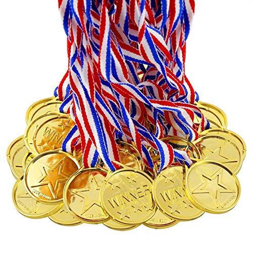 BJ-SHOP Medallas Niños,Medallas Deportivas Premios plásticos de Oro para los niños Fiesta...
