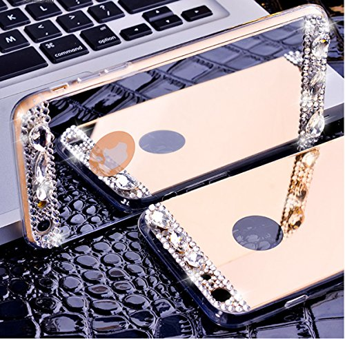 Custodia iPhone 5S,Custodia iPhone SE,Custodia Cover per iPhone 5S/iPhone SE, ikasus® Placcatura Lucido di cristallo di scintillio strass Diamante Glitter placcatura caso con specchio Strass iPhone 5S Oro rosa