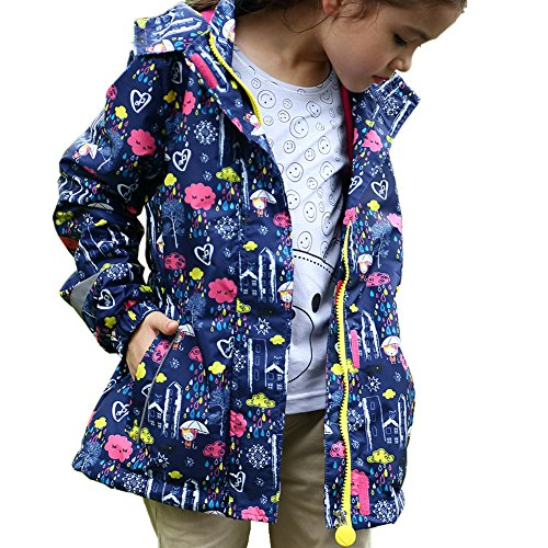 Dr.mama Kinder Regenjacke mit Kapuze Wasserdicht Softshelljacke Winddicht Oberteil Regenmantel für Jungen und Mädchen-A(110-116)