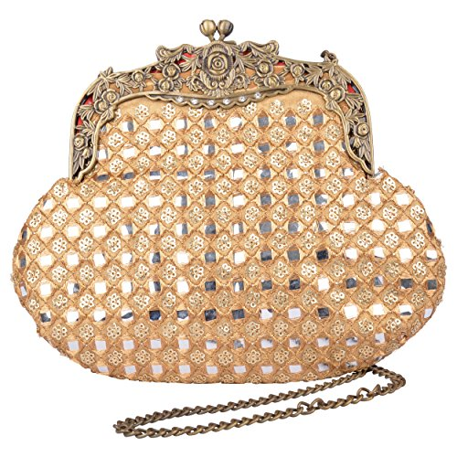 Fable Folks Women Designer Clutch Potli Bag Ethnic Party Potli Sling Cluth With Chain For Women, Ladies & Girls Bridal Wedding Clutch