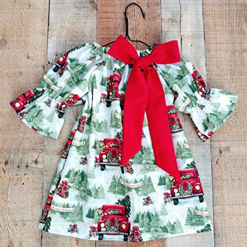 (zooarts für 1–6Jahre Kinder Mädchen Kleid Santa Claus Weihnachten Auto Print Lange Ärmel Boutique Outfits, multi, 120 (5T))