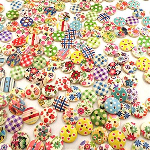 ! Bismarckbeer bottoni in legno rotondi colore misto 2 fori per fai da te, cucito, scrapbooking, 100 pezzi miglior prezzo