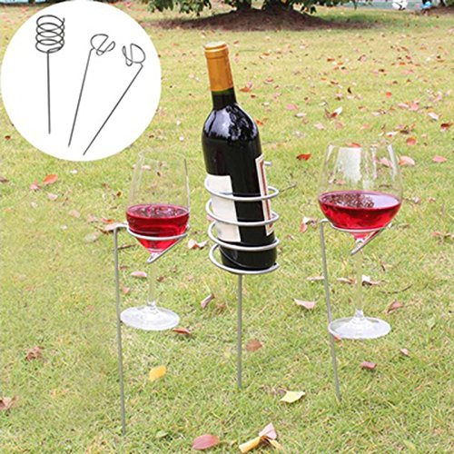SODIAL 3 Stueck / Set Outdoor Weinglas Flaschenhalter Einsatz Set fuer BBQ Garten Picknick Camping...