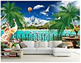 Mznm Custom 3D Wallpaper 3D Wandbilder Tapeten mediterrane Wandbild schönen Balkon Meerblick Fernseher Sofa Hintergrund Wandmalerei 350 X 250 Cm